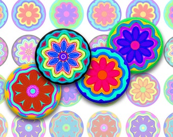 Flowers Bottlecap Images / Flowery Colorful Crayon Kaleidoscope Motif / Printable Collage / 1-Inch Circles / for Jewelry / Floral Patterns
