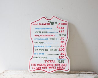 Vintage Bar Sign Wooden Humor Humorous Sign How to Live on 15 Dollars a Week Print Man Cave Sign Beer Sign