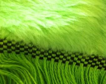 Shagadelic , NOS Jeidi  citris lime green fuax fur large single bedspreaf 1070s .