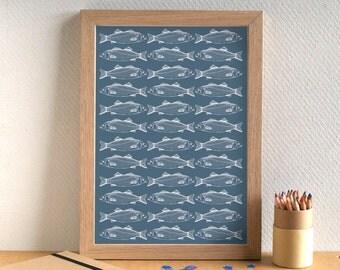 Fish Print - Sea Bass Print - Kitchen Art - Kitchen Print - Food Art - Food Print - Sea Bass Print - Fish Art - Gift for Foodie
