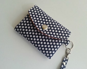 Quilted style ID Wallet Key Chain in Blue and White Dot print