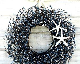 Beach Decor-COASTAL Wreath-STAR FISH Wreath-Nautical Decor-Blue & White  Wreath-Seashore Wreath-Coastal Home Decor-Star Fish Decor-Gifts