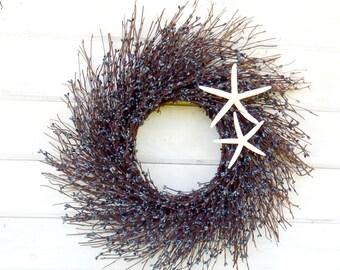 Beach Decor-Beach Wreath-Coastal Wreath-Star Fish Wreath-COASTAL Decor-SeaSide Wreath-Coastal Home Decor-Bathroom Wall Hanging-Custom Made