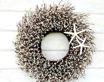 Beach Decor-COASTAL STAR FISH Wreath-White Twig Wreath-Star Fish Decor-Coastal Home Decor-Bathroom Wall Hanging-Custom Scented Wreaths-Gifts