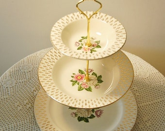 3 Tier Cake Plate Stand Prairie Gold  Lifetime China Company Alliance, Ohio Ivory 24 Karat Gold Midcentury Imperial