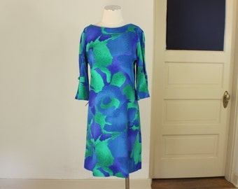 1970's Summer Dress / Auqua & Green Tiki Dress / Medium Women's Mod Beach Clothing