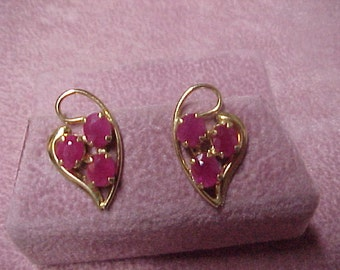 Pair of Vintage Natural Ruby Earrings, From the 1960's, 3 Carat, 14K Yellow Gold