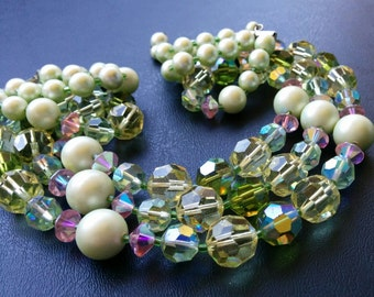 Vintage Multistrand  AB Crystal Pearl Necklace Choker Pastel Green