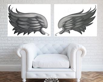 Angel wings home decor Swarovski®. Angel wings painting. Angel art. Guardian angel painting. White painting. White angel art Lydia Gee.