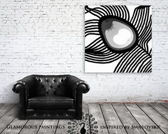 Black and white wall art. Abstract wall art. Swarovski® crystal. Black and white painting. Grey decor. Peacock feather abstract by Lydia Gee
