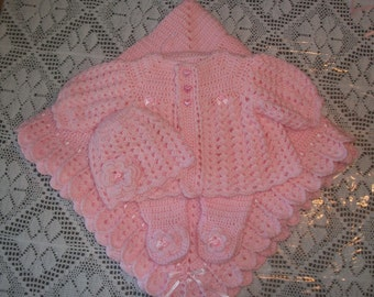 Pink Crochet Baby Girl Sweater Set Layette With Leggings Perfect For Baby Shower Gift or Take Me Home outfit