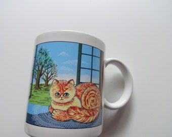 Vintage Kitten in the Window Coffee Mug 1980s
