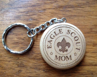 Eagle Scout Round Maple Keychain #2- Custom Laser Engraved