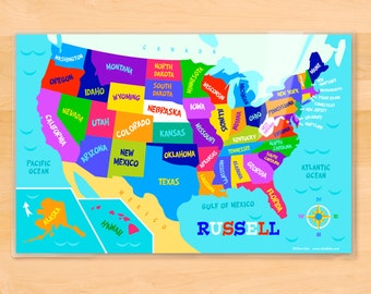 Kids Personalized USA Map Placemat, Laminated Placemat, Educational Placemat, Student's Placemat, Homeschool Learning Placemat, Name Mat