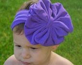 Purple Baby Bow Headband - Purple Floppy Bow - Messy Bow Head Wrap - Big Purple Bow
