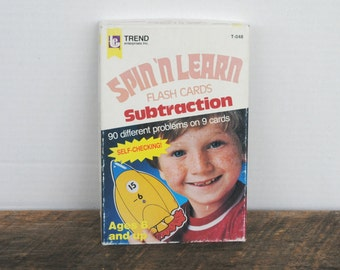 Vintage Spin & Learn Subtraction Flash Cards by Trend Enterprises 1984