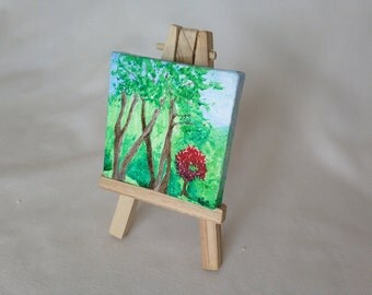 Original Miniature Painting - Plein Air Birch Trees with Red Maple - Watauga County