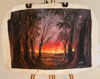 70s Oil Painting - 'Forest Fire' - African Wall Art - Zambian Folk Art
