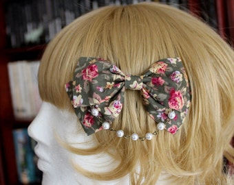 Olive Green Bow Hair Clip with Pearl Chain