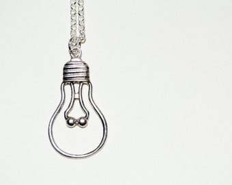 Lightbulb Necklace, Bulb Pendant, Lightbulb Charm, Idea Necklace, Lightbulb Silhouette, Light Bulb Necklace, Bulb Necklace, Lightbulb Moment