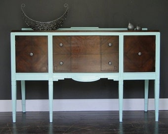 "MCM Retro Vintage Buffet Sideboard Entry Way Table Mint Green and Dark Stain ""MCM Mint"" Modern Vintage"
