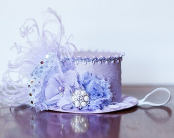 Mini Top Hat  Alice in Wonderland  Inspired in Shades of Purple and Silver- Bridal Shower Hat - Mini Hat