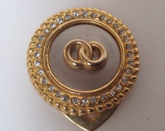 Vintage round metal scarf clip with rhinestones