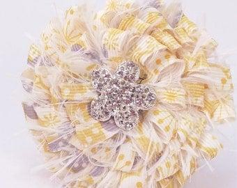 Shabby Chic White Yellow Gray  Pin/Brooch
