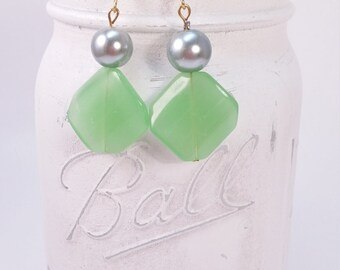 GREEN AND CHARCOAL glass dangle earring