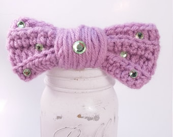 Purple Plum Crochet Bow Clip