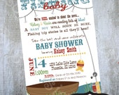 Fishing Baby Shower Invitation Printable party invite by Luv Bug Design