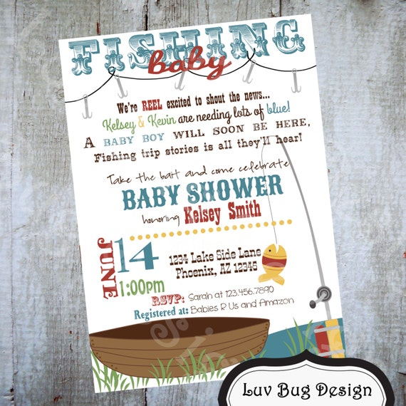 fishing baby shower invitation printable party invite by luv bug