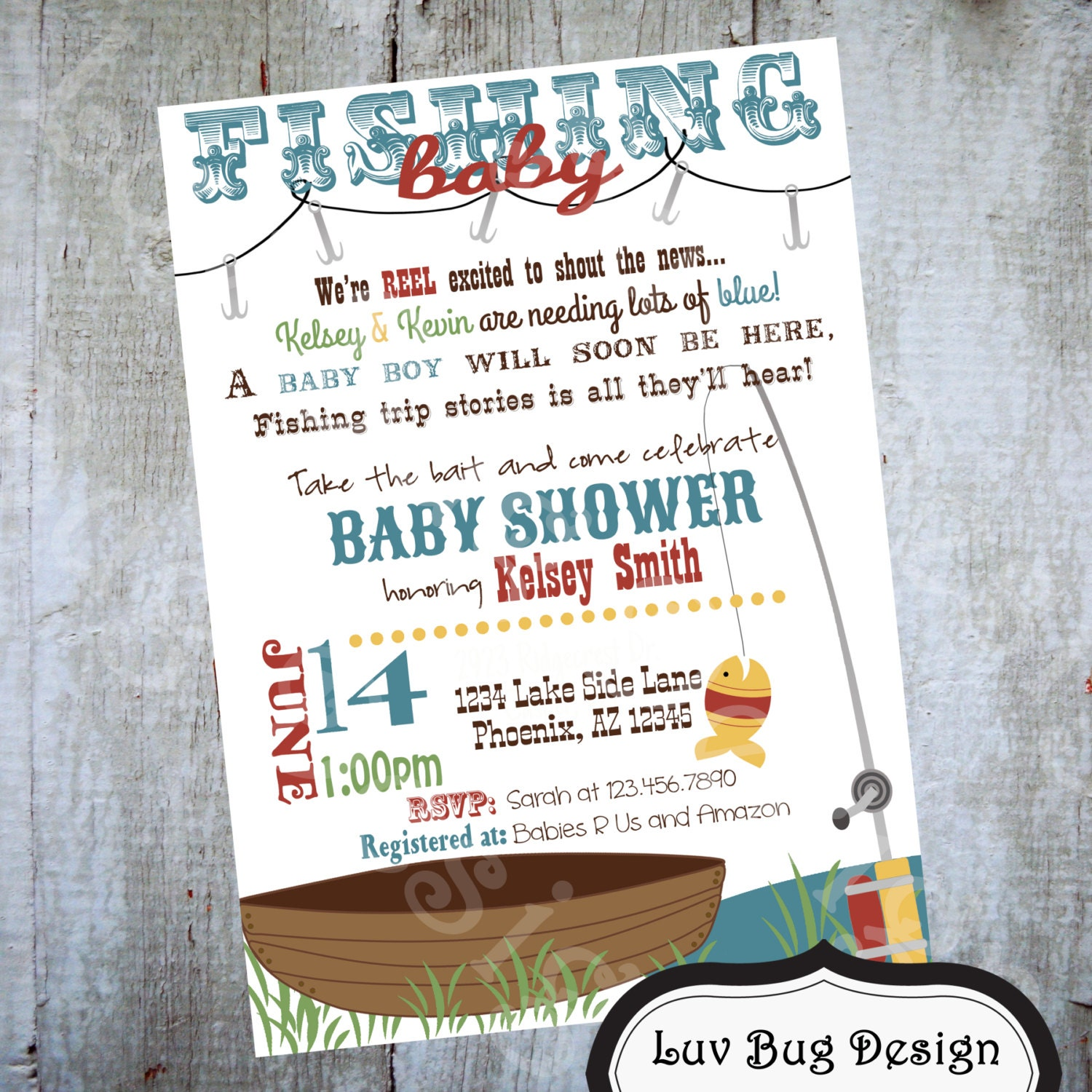 Fishing baby shower invitation printable party by luvbugdesign for Fishing baby shower invitations