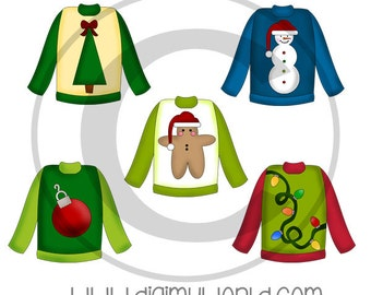 Ugly Holiday Sweaters, Winter, Christmas, adorable Clipart and graphics