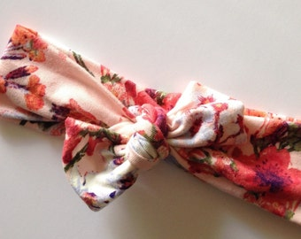 Jersey knot pink floral baby knotted headband
