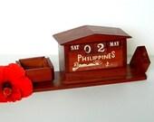 Philippines Wooden Perpetual Desk Calendar Ash Tray Pencil Holder Vintage
