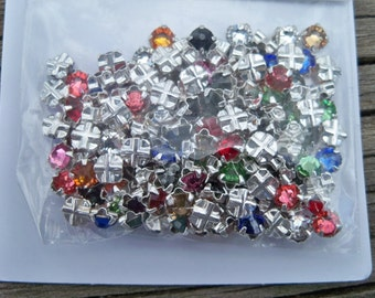 Swarovski Crystal Montees 4mm 4 way Beads ss16 Silver Plated Assorted Colors 53102  24 Pcs
