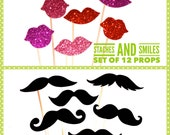 Photo Booth Prop Set ~ Staches and Smiles ~  Set of 12 Props ~ Glitter Lips and Black Mustaches ~ Fully Assembled ~ Photobooth Props