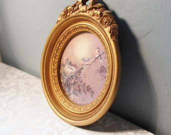 Homco Blue Bird Oval Picture With Gold Frame Ornate