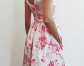 Pink peonies tea length dress with v cut back