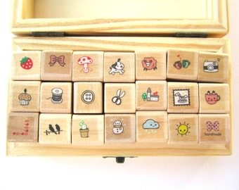 Mini rubber stamps set in wooden box - cardmaking scrapbooking cute collection