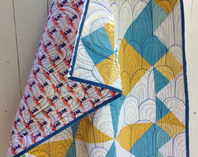 """Organic Birds of a Feather Quilt - Hand Dyed Organic Cotton, 52"""" x 68"""" Quilt with Birds in Flight Backing"""
