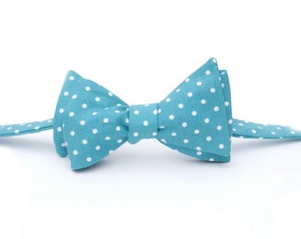Teal Dot Bow Tie