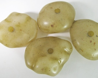 6 Vintage 35mm Sage Green Large-Hole Faux Rock Lucite Boulder Bead Mix Bd1675