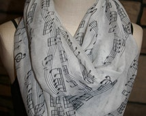 Infinity Scarf White Musical Note Print Chunky Infinity Scarf Sheet Music Loop Scarf-Composer-Sheet Music-Teacher Gift