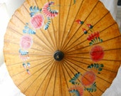 "Painted Flowers Paper Parasol Vintage wood and paper Long Stem 66cm 26""inches"