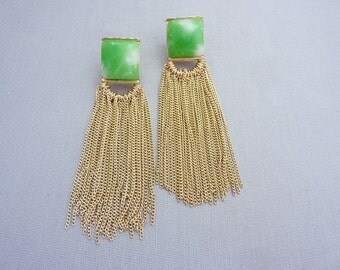 Vintage Jade Glass and Chain Long Earrings