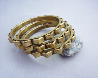 Vintage Geometric Tribal Brass Bangle Bracelet Trio Set