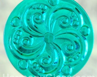 Swirly Teal Stained Glass Jewel 35mm