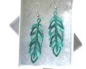 Chic Variegated Charms - Feather (Lace) Earrings - Machine Embroidered Earrings